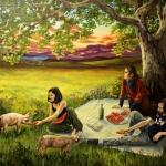 Picknick, 2015, Öl/Lwd., 200 x 250 cm