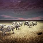 Wir verlassen die Erde, 2012, Öl/Lwd., 150 x 200 cm