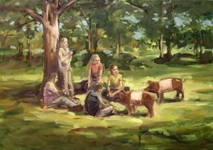 Studie zu Picknick I, 2015, Öl/Lwd., 70 x 100 cm